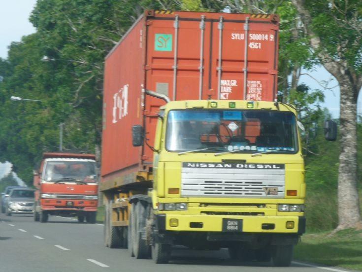 Nissan Diesel and Hino at Kuala Baram