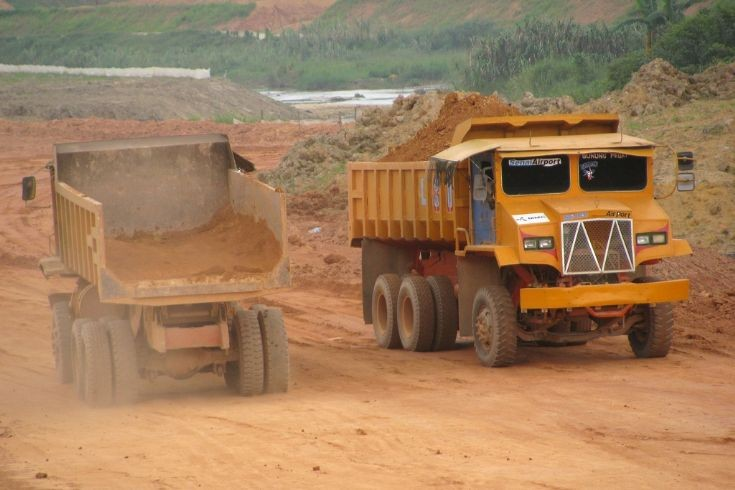 Lori Hantu Ghost Lorries at earthworks project in Malaysia
