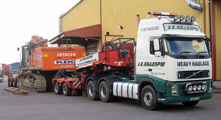 J C Gillespie Volvo hitching up to lowloader