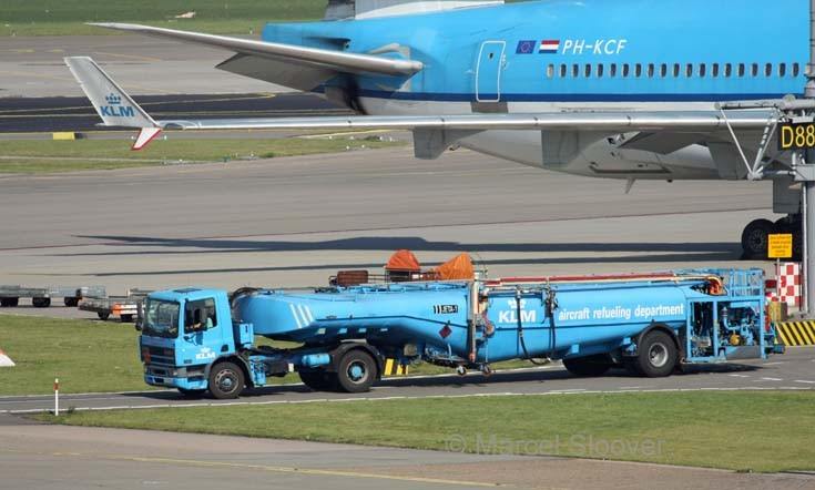 A DAF truck with trailer from the KLM Aircraft Refueling department