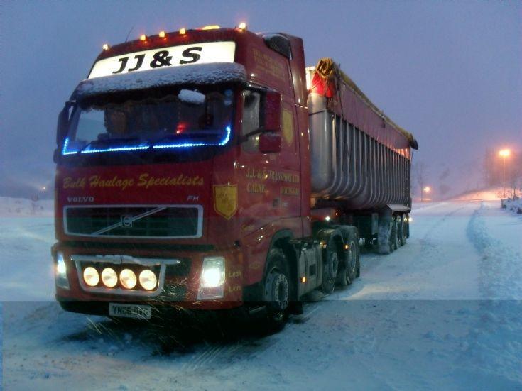 J J & S Volvo in the snow