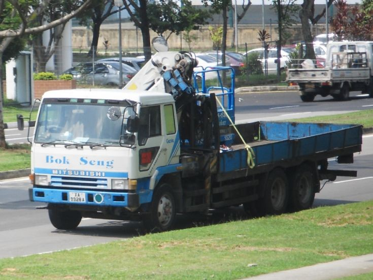 FV413 Mitsubishi Fuso Great Cargo Truck with a HIAB hoisting crane belonging to Bok Seng Logistics Pte Ltd