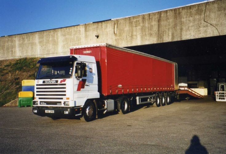One of my own trucks - Scania 113M loading in France