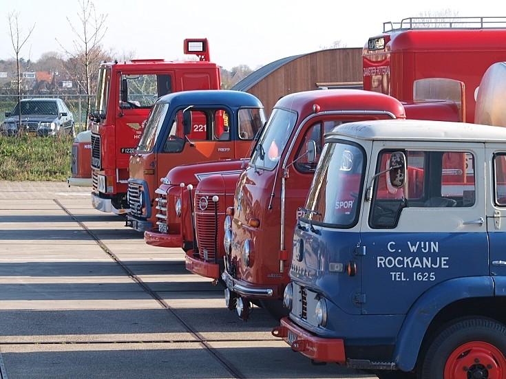 Line-up of oldtimer trucks, at the start of the 'Hyacintenrit 2010' vintage tour, Lisse, The Netherlands.
