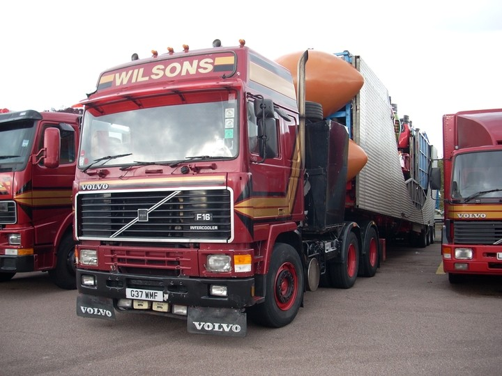Bob Wilsons Funfairs Volvo F16 in Stratford-upon-Avon coach and lorry park